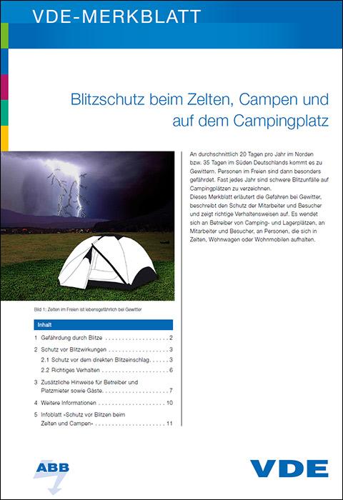 Im Zelt Vor Blitz Geschützt : Vde merkblatt zum blitzschutz beim zelten und campen