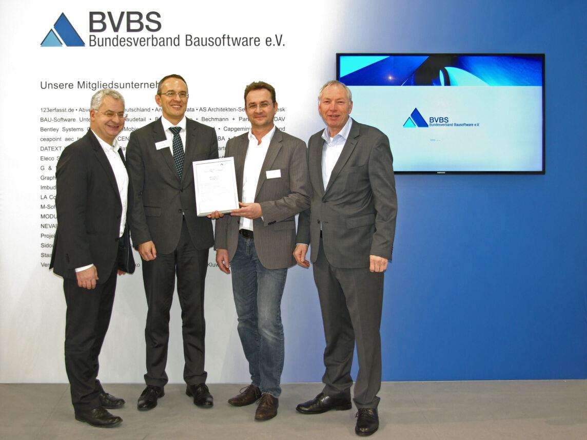 Prof. Dr. Ing. Joaquin Diaz (BVBS-Vorstand), André Steffin und Jörg Butt (beide G&W) sowie Michael Fritz (BVBS-Geschäftsführer)