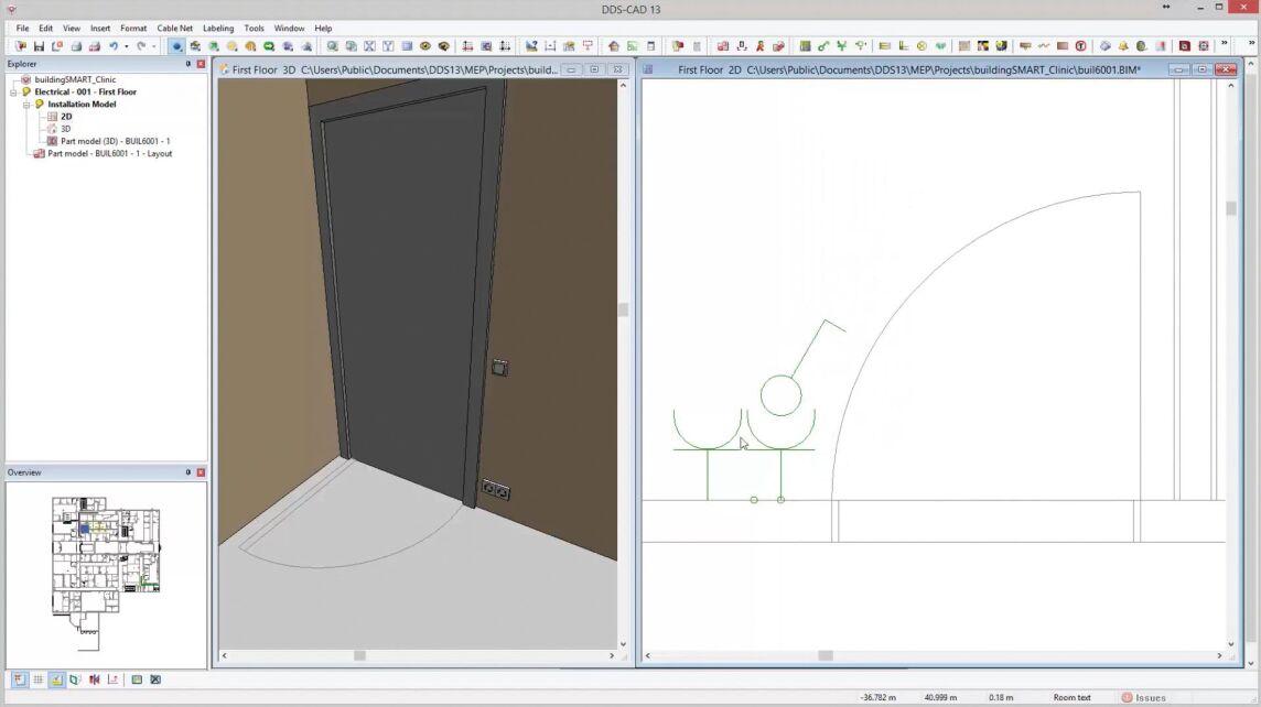 2D-Offset: Durch diese neue Funktion zum Verschieben der 2D-Darstellung von elektrischen Symbolen wird die 2D-Darstellung von eng mit Bauteilen bestückten Wandbereichen übersichtlicher und einfacher.