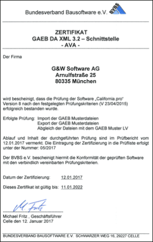 GAEB DA XML 3.2 Zertifizierungsurkunde