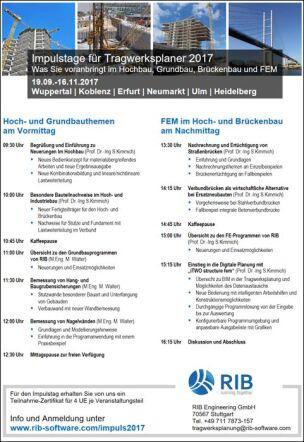 RIB-Impulstagen für den Hoch-, Grund- sowie Brückenbau und FEM
