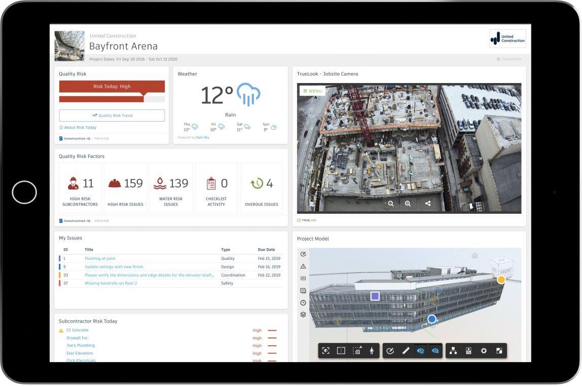 BIM 360 fasst alle Projektdaten in einer einzigen Ansicht zusammen und zeigt personalisierte Dashboard-Karten