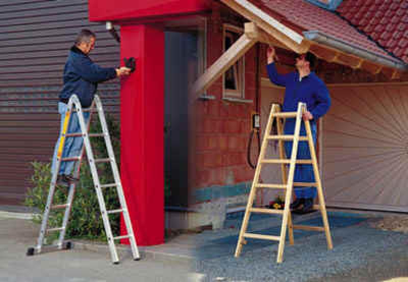 Holzleiter oder Aluminiumleiter