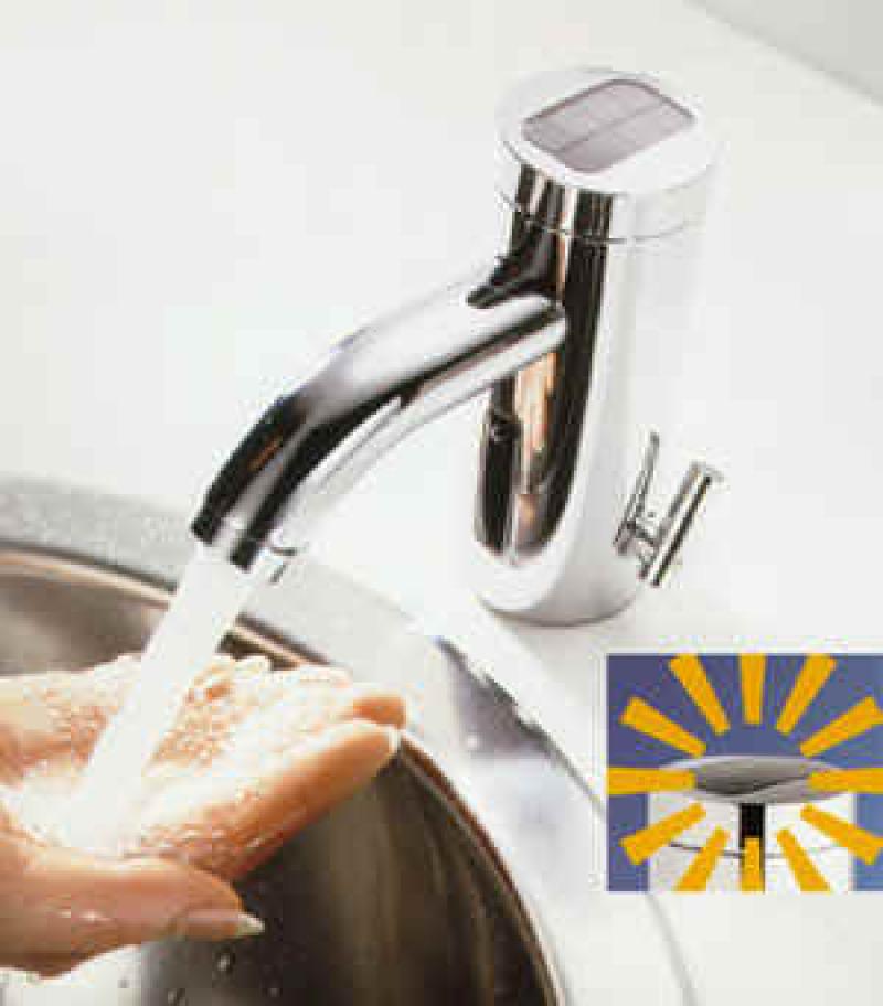 Sensorarmatur, Armaturen, Badarmaturen, Solarbetrieb, Waschtischarmatur, Fotozelle, berührungslose Armaturen, hygienischer Waschplatz, Bad, Wassereinsparung, Energieeinsparung