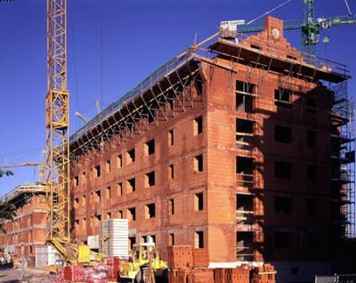 Mauerwerksbau, Ziegelmauerwerk, Geschossbau, Geschosswohnungsbau, Blockziegel, WS-Ziegel, Normalmörtel, Leichtmörtel, Einstein-Mauerwerk, Stoßfugen-Vermörtelung