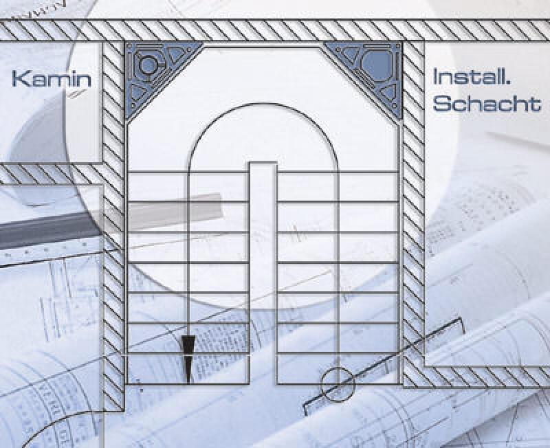 Dreieckschornstein. Schornstein, Wohnraumreserven, Wohnflächenoptimierung, Treppen, Treppenhäuser, Treppenhaus, Versorgungsleitung, Schachtsystem, Wohnfläche