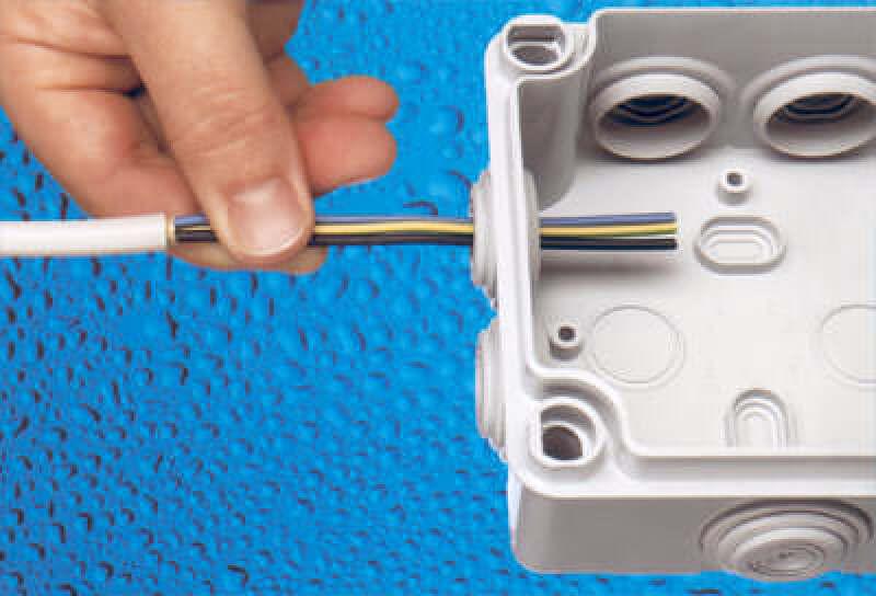 Feuchtraumabzweigdosen, Elektroinstallation, Schutzart IP 55
