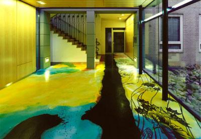 Bodenbeläge, Bodenbeschichtung, Kunst am Bau, Fußboden, Epoxidharz, Glasfront, Projektbericht, Industrieböden, Industrieboden, Beschichtung