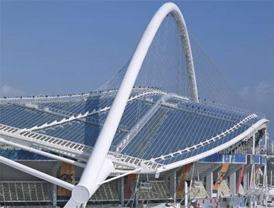 Glasdach, Olympiadach, Dach, Baukunst, Architekt Santiago Calatrava, Stadiondach, Dachscheiben, transparente Kunststoff-Platten, Polycarbonat Makrolon, Dachkonstruktion, Glas