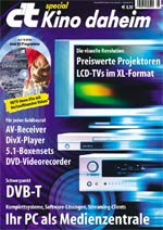 Multimedia, c't, digitales Wohnzimmer, Heimkino, Heimkino-Projektoren, Flach-Bildschirme, DVD-Recorder, AV-Receiver, Surround-Boxenset, Subwoofer, DVB-T, WMV-HD-DVD High Definition, Fernsehen