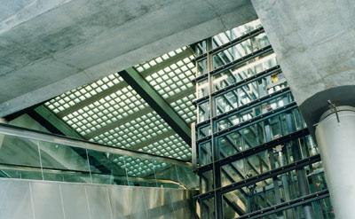 Glasbaustein, Glasstein, Betonglasstein, Glasbetonstein in der Tageslichtarchitektur