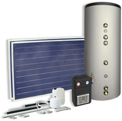 Solarwärme, Solarthermie, Warmwasserbereitung, Solartechnik, Kollektor, Solarkollektor, Solarspeicher, Solarspeicher, Flachkollektor, Vollflächenabsorber, Solarstation
