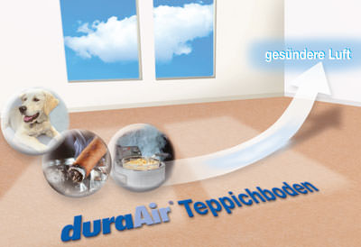 Teppichboden, Teppichböden, raumluftreinigender textiler Bodenbelag, textile Bodenbeläge, Formaldehyd, Nikotin, Essigsäure, Acetaldehyd