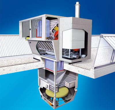 Haustechnik, Hallenheizung, Dachlüftungsgerät, Gas-Brennwertkessel, Lüften, Heizen, Kühlen, dezentrales Lüftungsgerät