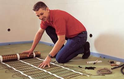 Haustechnik, Elektro-Fußbodenheizung, elektrische Fußbodenheizung, Fliesestrich, Heizmatte