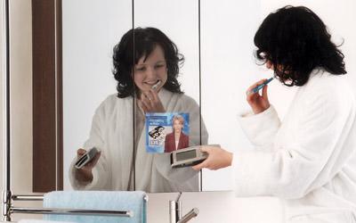 Badezimmerspiegel, Fernsehen im Badezimmer, Fernseher, Bad, Dusche, Schaumbad, TV-Gerät, Magic Mirror Bath TV, Spiegelglas