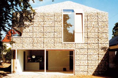 Fassadenverkleidung, Fassadengestaltung, Steinkörbe, Hausfassade, Natursteinwand, Natursteinfassade, Außenwandverkleidung, Gabione