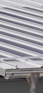 dachintegriertes Photovoltaiksystem, PV-System, Dünnschicht-Solarmodule, Aluminiumprofiltafeln, Aluminium-Profiltafel