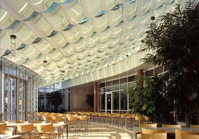 Sonnensegel, Wolkenbehang, textiler innenliegender Sonnenschutz, Lichtdachmarkise, Lichtdacher, Wintergarten, Acryl-Gewebe