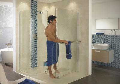 Duschabtrennung, bodengleiche Dusche, Bad, Duschwand, rahmenlose Echtglas-Dusche, barrierefreie Dusche, Duschwände, Glasdusche, Einscheibensicherheitsglas, Echtglasdusche