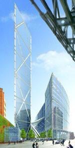 Computervisualisierung vom Broadgate Tower mit Doppeldecker-Aufzug mit Zielwahlsteuerung