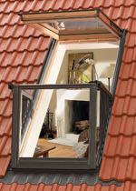 VELUX Cabrio, Dachwohnfenster, Dachfenster, VELUX-Fenster, Austritt, Elektrofenster, automatisches Fenster, Balkon, Automatikfenster, Fensterfläche, VELUX-Balkon, Tageslicht