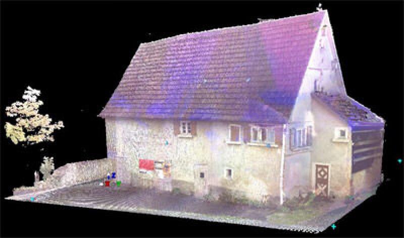 Vermessung, historische Gebäude vermessen, 3D-Laserscanner, landwirtschaftliches Gebäude, Translozierung, Bestandsaufnahme, alte Bausubstanz, Baudenkmalpflege, Denkmalpflege, Außenhaut, virtuelles 3D-Modell, Gewölbekeller, Naturstein