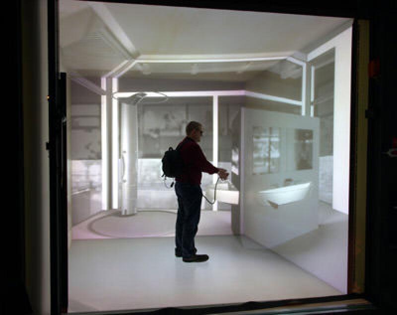 VR-Visualisierung, virtuelle Realität, VR, Cyberspace, Visualisierung, CAD-Modelldaten, 3D-Modell, Modellierung, VRML, Modelliersoftware, VR-System, CAVE, Fraunhofer Institut für Arbeitswirtschaft und Organisation IAO, 3D-Cave, stereoskopische Abbilder