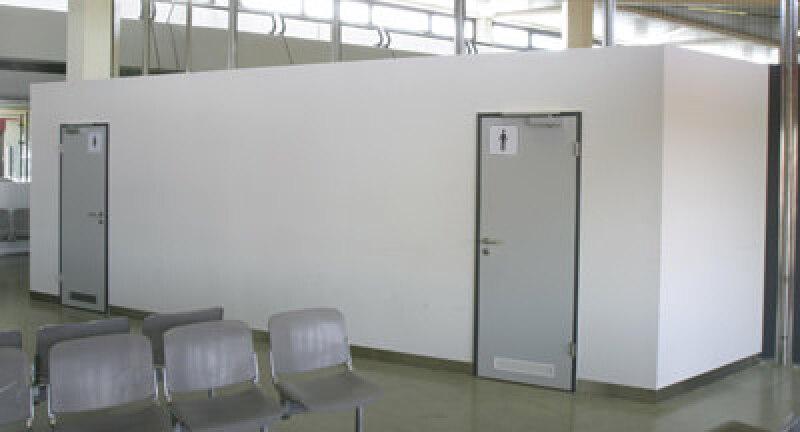 Raum-in-Raum System, Trockenbauweise, Trockenbau, Raumzelle, Inhouse, Sanitärzelle, Sanitärzellen, WC-Anlage, Inhaus, Stahlhohl-Profil, freitragende Decke, Wandkonstruktion, GKF-Platten