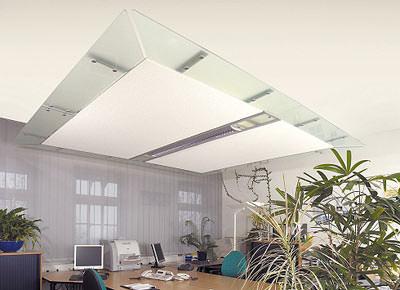 sto deckensegel verbessert raumakustik und beleuchtung akustikdecke aus bl hglasgranulat. Black Bedroom Furniture Sets. Home Design Ideas