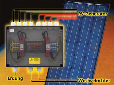 PV-Generator, PV-Wechselrichter, Installation einer Photovoltaik-Anlage, Generator-Freischalt-Gehäuse, Gehäuse, Elektroinstallationsbereich, Notabschaltung, Solarstrom, Installationszubehör, Photovoltaik-Anlagen, Solarzellen, Wechselrichter