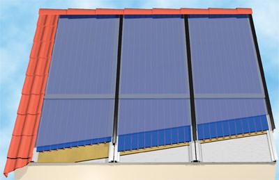 Sonnenkollektoren, Solarthermie, Solarwärme, Solaranlagen, Aufdachkollektor, Sonnenkollektor, Solaranlage, Solarkollektor, Großflächenkollektoren, Kollektor, Kollektoren, Solarkollektoren, Heizungsbauer, Kupferabsorber, Mineralwolldämmung, Solarsicherheitsglas
