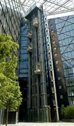 Panorama-Aufzüge, Doppelaufzug, Panorama-Aufzug, Doppelaufzüge, Main Triangel, zwei unabhängige Aufzugskabinen, Lift