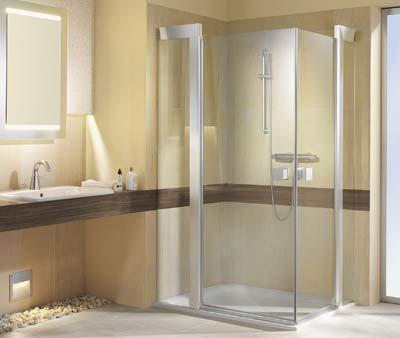 Duschkabine, Duschkabinen, Dusche, Duschtrennwand, Duschtrennwände,  Durchlaufendes Fliesenmuster, Magnetdichtungen, Pendeltür