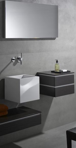Einbaubecken, Aufsatzbecken, Handwaschbecken, Waschbecken, glasierter Stahl, Becken, Alape, Q-Becken