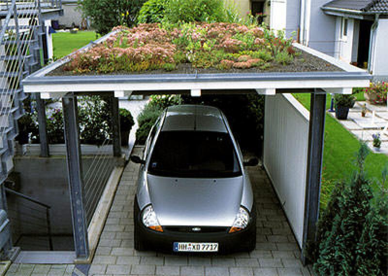 Carportbegrünung, Garagenbegrünung, Dachbegrünung, Gründach, Staubbindung, Luftfeuchtigkeitsregulierung, Carport, Garage, Pavillon, Dächer, Dachdeigung, Flachballenpflanzen