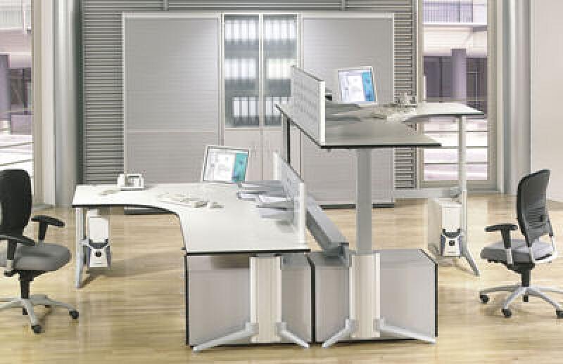 Ergonomie, höhenverstellbare Bürotische, Arbeitstische mit Motor, Bürotisch höhenverstellbar, elektrisch höhenverstellbarer Arbeitstisch, ergonomische Tische, Sitzhaltung, Bildschirmarbeitsplätze, CAD-Tisch