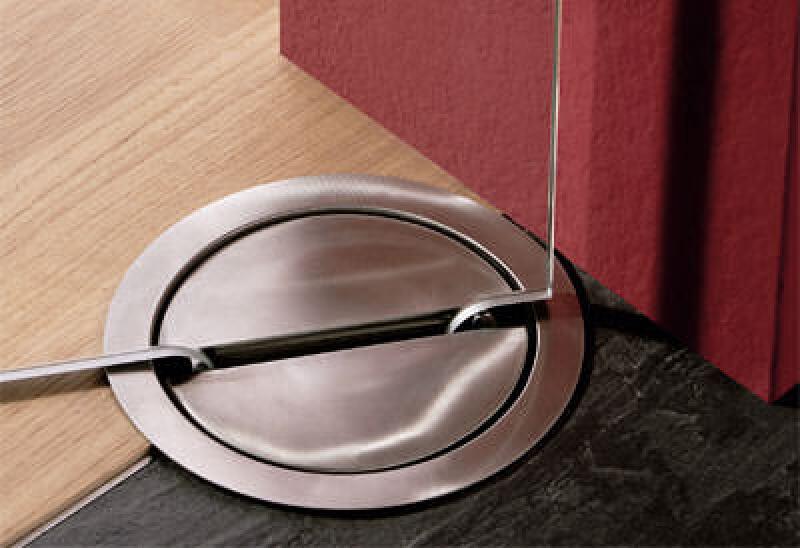 unsichtbarer Glastürbeschlag / unsichtbares Glastürband mit Kämpferkasten