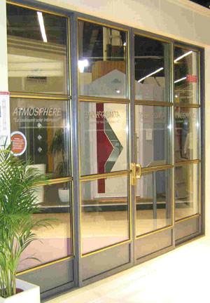 Fensteranlage, Schiebetür, Schaufensteranlagen, Schaufensteranlage, Schaufenster, Stahlfenster, Stahl-Schiebetür