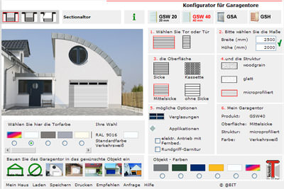 Garagentor, Schwingtor, Sektionaltor, Deckengliedertor, Garagentore, CarTeck-Konfigurator, Deckengliedertore, Tor-Konfigurator, Schwingtore, Sektionaltore