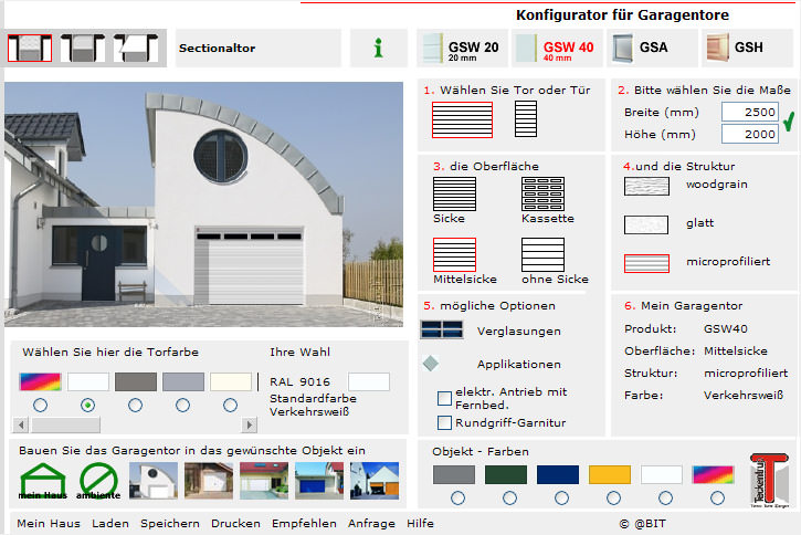 sektionaltor online konfigurator