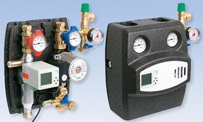 Solarthermie, Solarstation, Solarwärme, Solaranlagen, Solaranlage, Trinkwasserstation, Manometer, Sicherheitsventil, Absperrarmatur