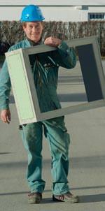 Kellerfensterzarge, verlorene Schalung, Kellerbau, Kellerfenster, Glasfaserbeton, GFB, Glasfaserbeton-Zarge, Glasfaserbeton-Technologie, Fensterzarge, Zarge