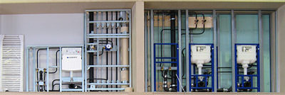 Sanitärtechnik, Sanitärräume, Heizung, Trinkwasserversorgung, SHK-Messe, Geberit Systemtechnik, Dachentwässerung, Abwassertechnik, Pluvia-Turm, Toilettenspülung