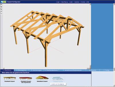 carport bau online am 3d simulator. Black Bedroom Furniture Sets. Home Design Ideas