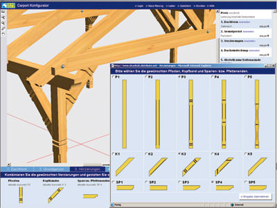 Carport bau online am 3d simulator for Holzkonstruktion carport