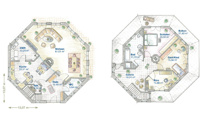 Individuell und luxuri s ibg penthaus mit 8 ecken for Grundriss luxushaus