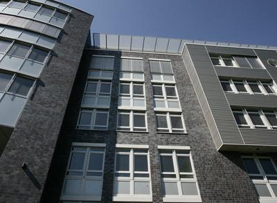 Klinkerfassade, Ziegelarchitektur, Architektur, Vormauerziegel, Ziegelfassade, Objektbau, verklinkerte Fassade, schwarzer Klinker, anthrazitfarbener Klinker, Klinkerstein, Industriearchitektur