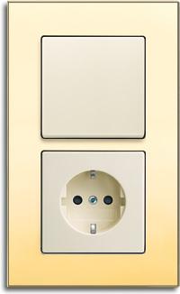 goldener Lichtschalter, Schalterrahmen mit Feingoldauflage