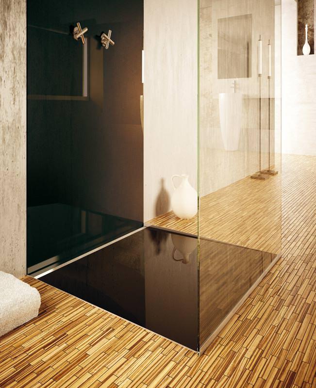 bodengleiche glas duschfl che mit individueller farbgestaltung. Black Bedroom Furniture Sets. Home Design Ideas